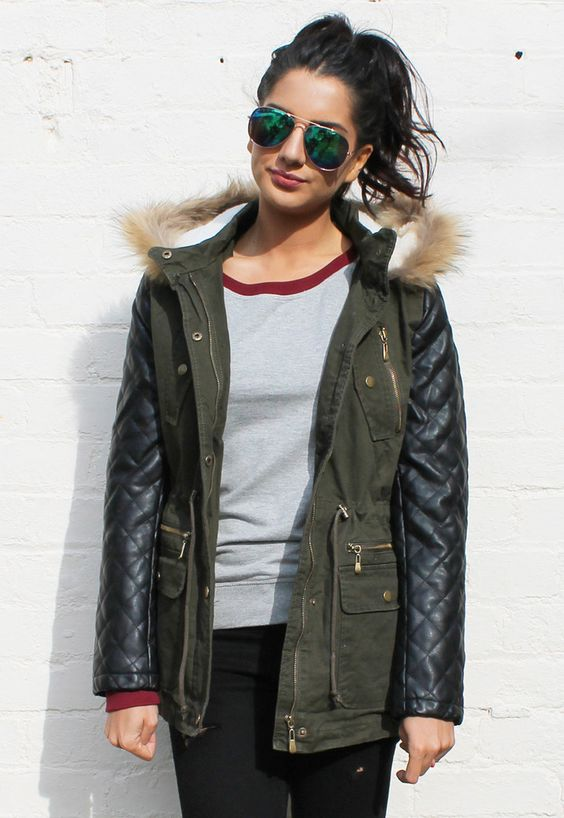 Green Parka Coat With Leather Sleeves