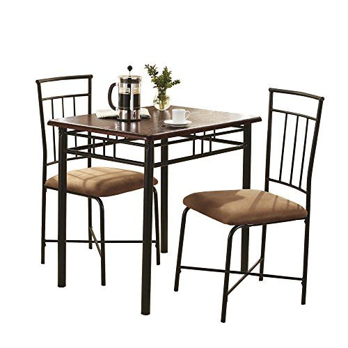 Mainstays 3 Piece Wood And Metal Dining Set With Images Dining