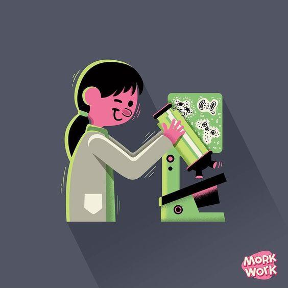 """M"" de Microbióloga. #morkwork #36daysoftype #36days_M #M #tipografia #type #vector #lettering #illustration #microscope #biology #bio #medicine by morkwork"