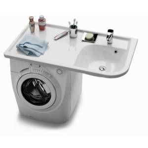 un plan vasque qui se met au dessus de la machine laver. Black Bedroom Furniture Sets. Home Design Ideas