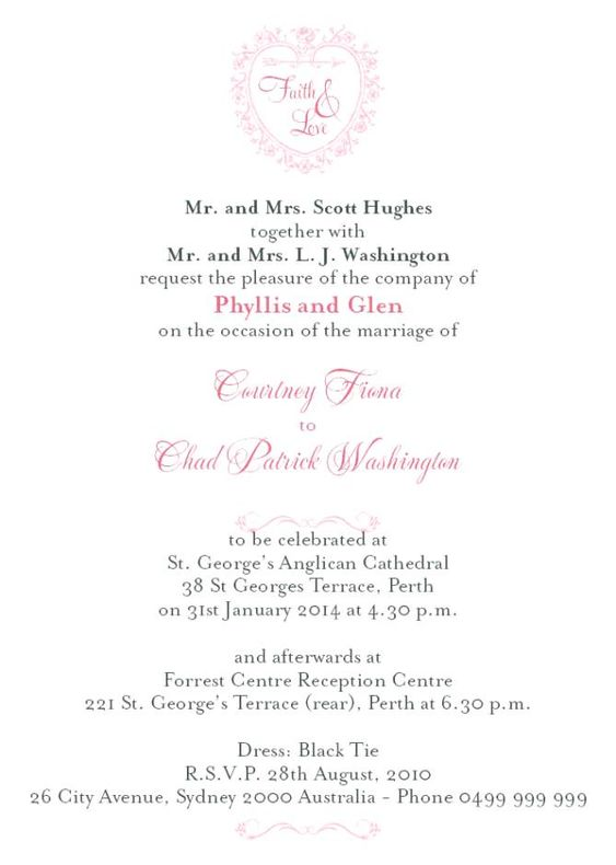 Formal Wedding Invitation Wording Couple Hosting  Wedding Gallery
