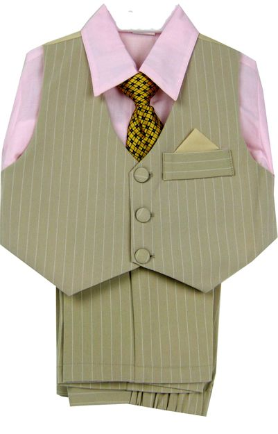 Tiny Tike Tan Pinstripe Boys Suit Vest Set with Pink Dress Shirt ...