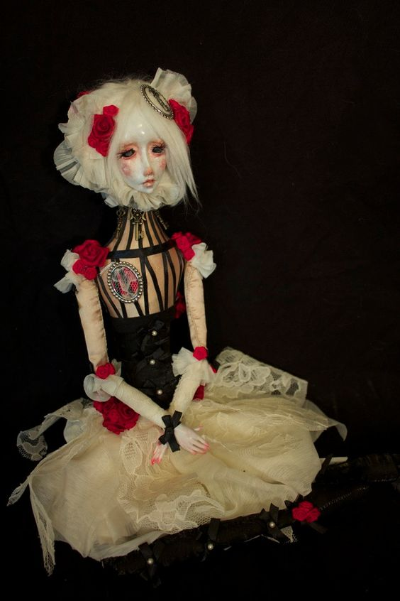 Isadora- OOAK Gothic Victorian Art Doll with Lace, Pearls, Red roses, Keys.