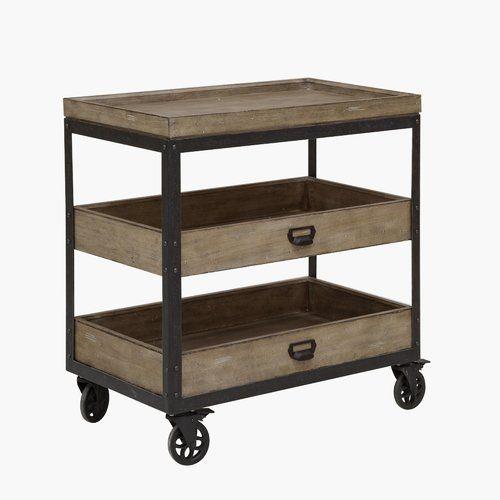 Laurel Foundry Modern Farmhouse Fort Oglethorpe Kitchen Cart With Wood Top Reviews Wayfair Furniture Outdoor Furniture Sale Slatted Shelves