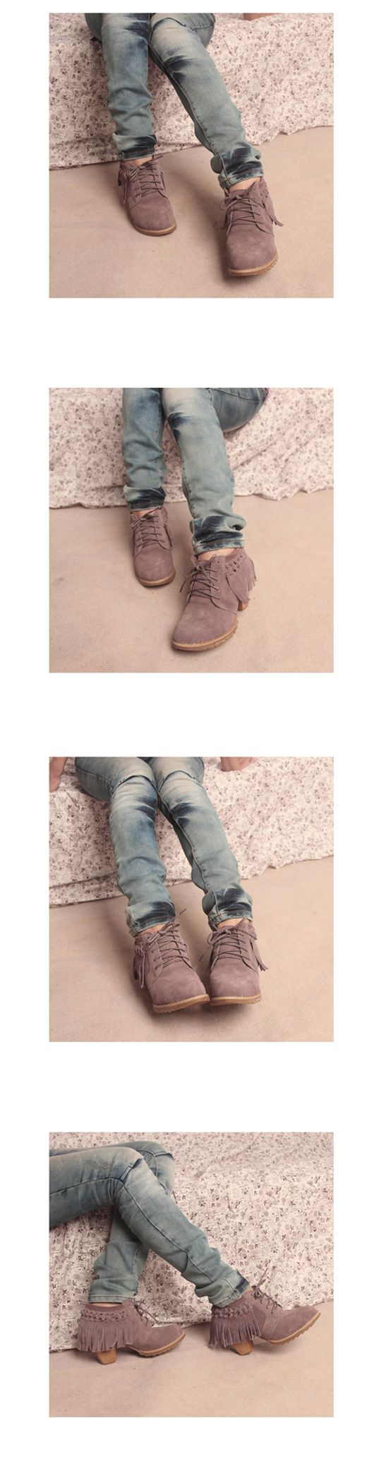Tassel Khaki Junior Casual Shoes <3
