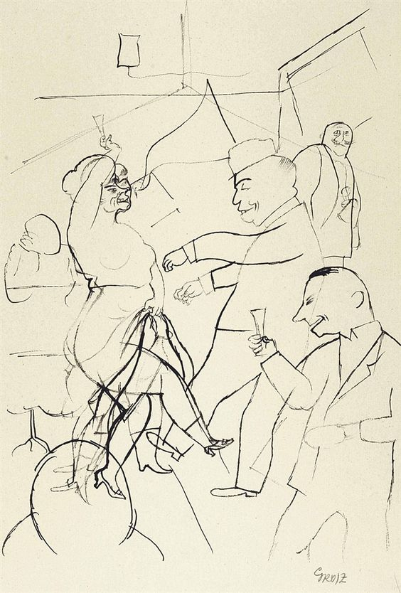 George Grosz (German, 1893-1959), Tanzbar, Berlin, 1920. Pen and India ink on paper, 44 x 28.8 cm.