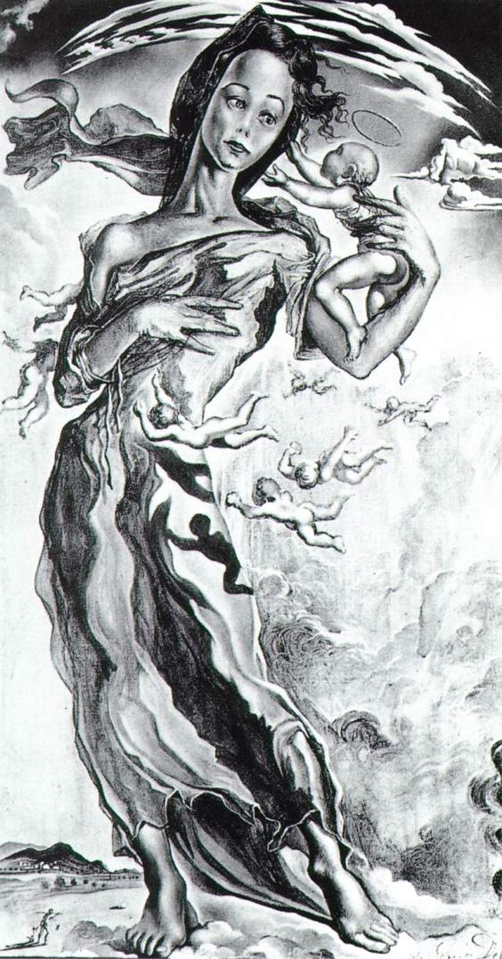 Dali's Madonna, 1943. Sometimes as an atheist, I think it would be kind of odd and fun to have religious art tattooed on me. Here we have a contender.