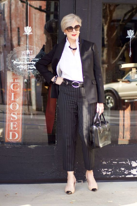 beth from Style at a Certain Age wears Ralph Lauren pinstripe pants, Misook white blouse, J.Crew black blazer, cap toe pumps and black handbag