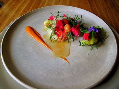 """From Noma in Copenhagen, rated the best restaurant in the world. Not sure what the heck it is except a """"salat root"""" but it sure is pretty."""