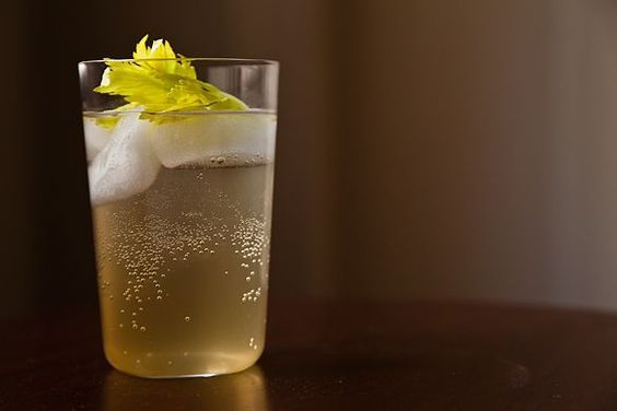 celery soda with cardamom, lemon, and peppercorns
