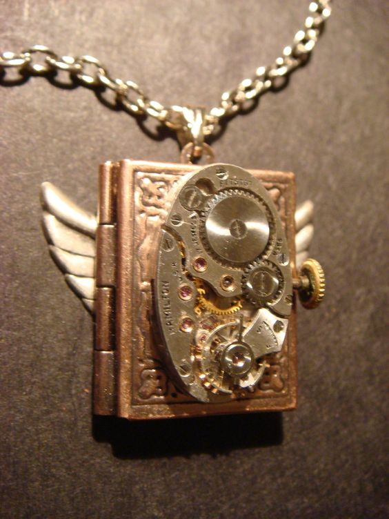 Steampunk Neo Victorian Watch Movement LOCKET Necklace with Wings