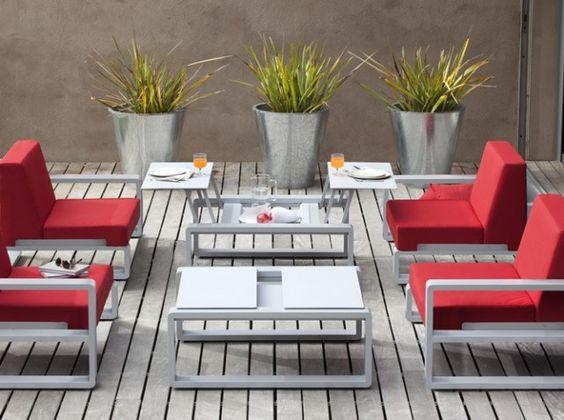 Salon jardin rouge   OUTDOOR   Pinterest   Salon de jardin design ...