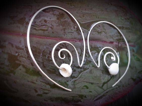 Sterling Silver Wave Hoops with Puka Shell Earrings