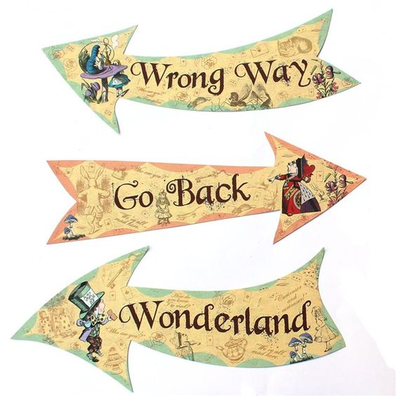 Beautiful vintage alice in wonderland signs great party for Mad hatter party props