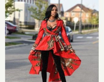 SALE Red African print dress Jacket Royal Java print  African clothing