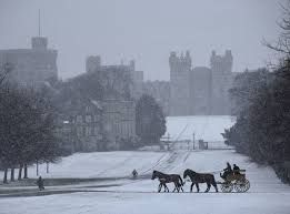 Horse and carriage in The Long Walk Windsor Castle in the snow from Bing