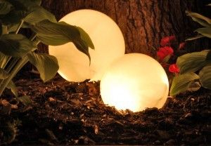 Garden Lights - Builder grade light covers, upside down, covering string of outdoor christmas lights!