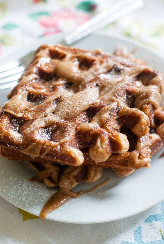 cinnamon sugar waffles with cinnamon peanut butter maple drizzle