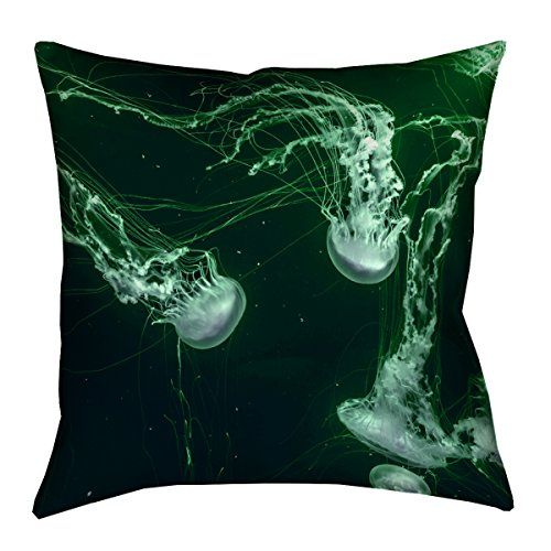 Artverse Katelyn Smith 28 X 28 Floor Double Sided Print With Concealed Zipper Insert Green Jellyfish Pillow Pillows Throw Pillows Throw Pillow Sizes