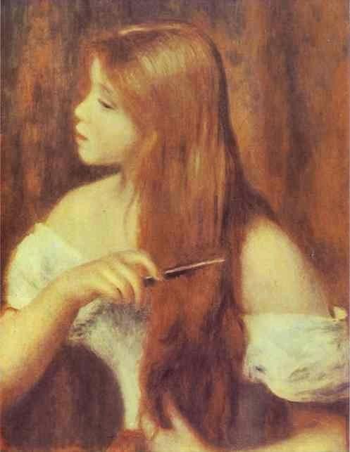 "Pierre-Auguste Renoir - ""Young Girl Combing Her Hair"" - 1894 http://www.arteeblog.com/2014/09/pinturas-de-mulheres-penteando-o-cabelo.html"