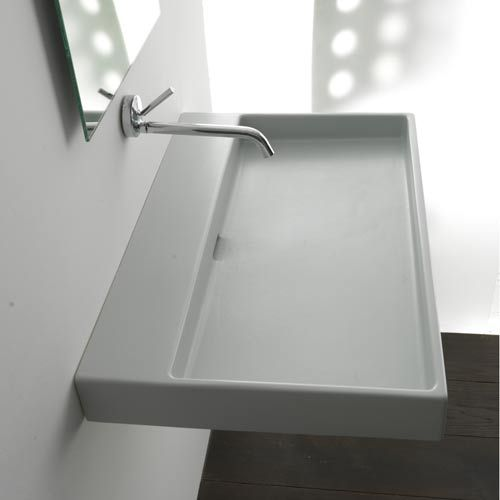 Ws bath collections urban 100 white wall mount or for Wall mount bathroom vanity with trough sink