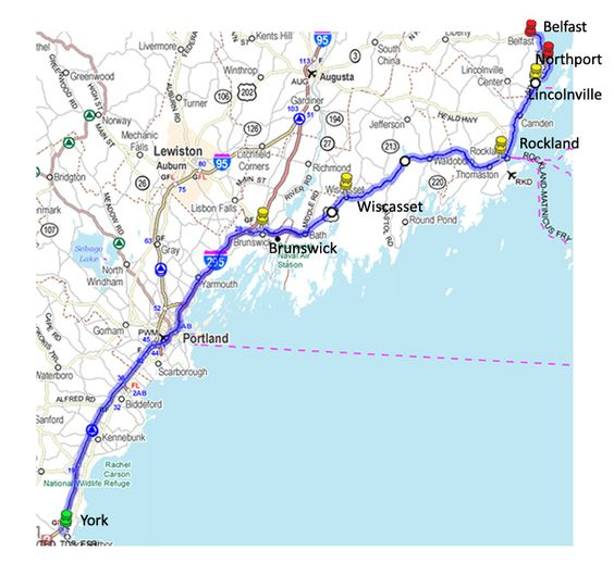 Maine Road Trip Map New England Maps Pinterest Road Trip Map - Road map maine