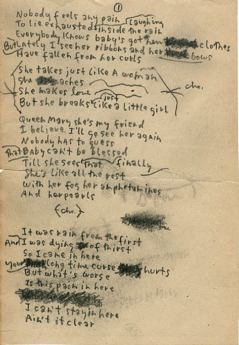 Bob Dylan S Handwritten Lyrics For Just Like A Woman This