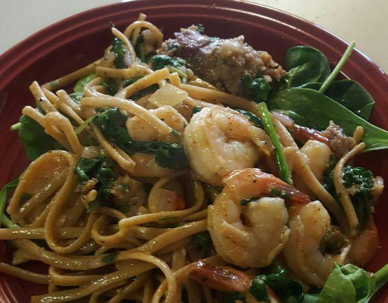 shrimp and noodle in ginger