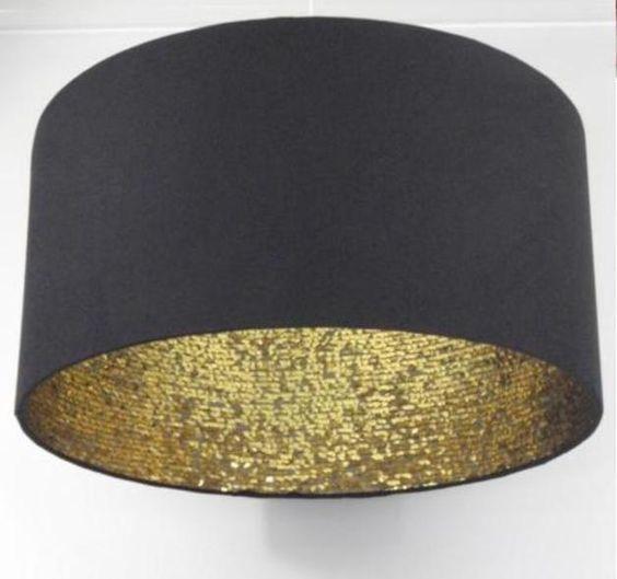 """Lampenschirme - Lampenschirm 45 cm """"black & gold sequins"""" - ein Designerstück von Lichthaus bei DaWanda"""