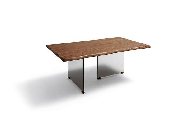 Mesa de comedor tapa madera natural con doble pata de cristal ...