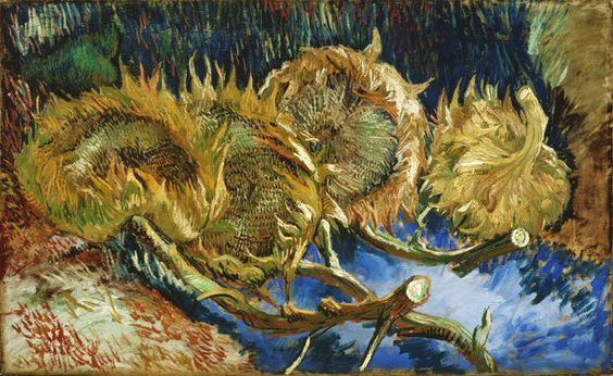 """In this photo provided by the Kroeller-Mueller Museum in Otterlo on Tuesday, Dec. 11, 2012 the 1887 painting """"Four sunflowers gone to seed"""" by Vincent van Gogh ."""