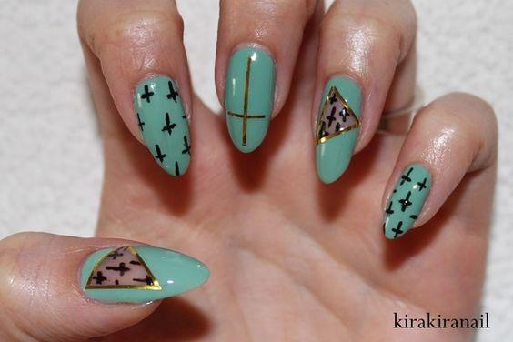 ✞ Mint Cut Out Nail Design ✞