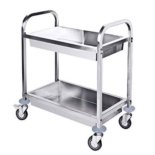 Utility Carts Catering Trolley 2 Tier Stainless Steel Detachable Serving Cart Clearing Trolley On Wheel Kitchen Cart Service Kitchen Stainless Steel Furniture