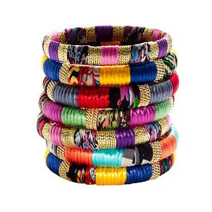 Cara Accessories™ Mixed-Fabric and Gold Bangle