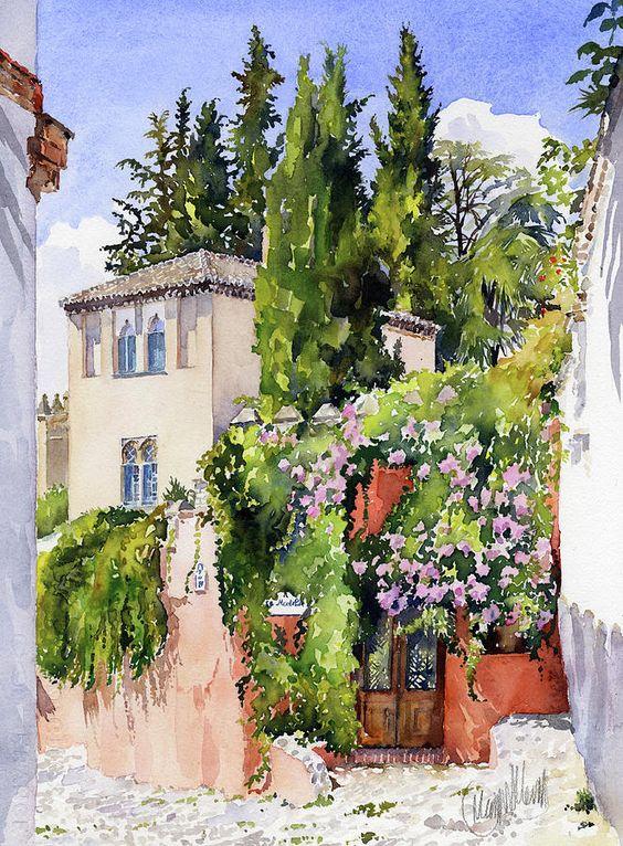 Granada Painting - Carmen De La Media Luna Granada by Margaret Merry: