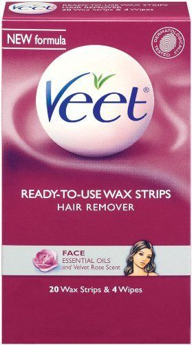 Veet Cold Wax Strips Face, 20 Wax Strips and 4 Wipes by Veet. $3.73. Essential oils and velvet rose scent. Get touchably smooth skin for up to twice as long as shaving. Dermatologist tested. It's best kept secret of the girls. Now you can remove hair from the root with Veet cold wax strips for face.