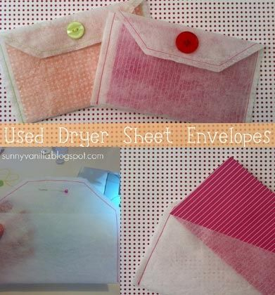 Make your own envelopes for keepsakes from used dryer sheets.