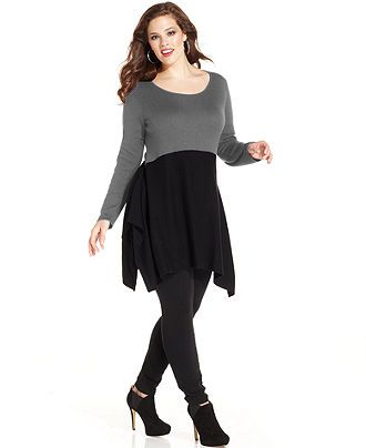 Style Plus Size Sweater, Long-Sleeve Colorblocked Tunic - Plus Size Sale & Clearance - Plus Sizes - Macy's