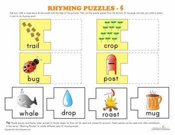 Printables 5 Rhyming Words rhyming words puzzle 5 phonics worksheets and 5