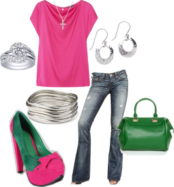 """""""hot pink & green"""" by teresajohnson-1 on Polyvore"""