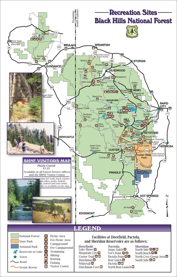 Black hills recreational map – South Dakota Tourist Map