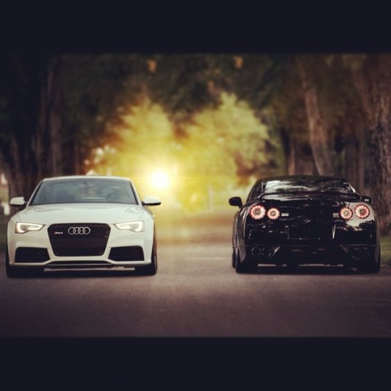 White Audi RS5 And A Black Nissan GTR Because She Loves