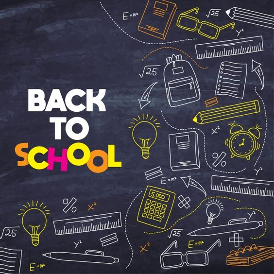 Blue Blackboard Background With Drawings Doodle Background