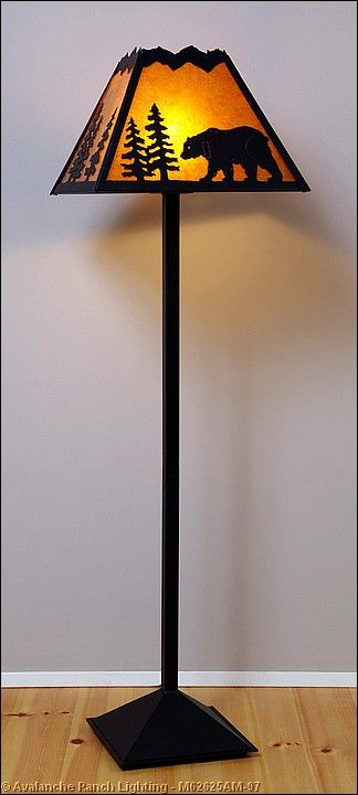 Rustic Cabin Floor Lamps : This rocky mountain floor lamp features bear metal art on