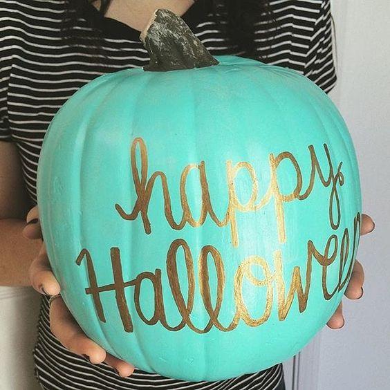 Gold Script on teal pumpkin