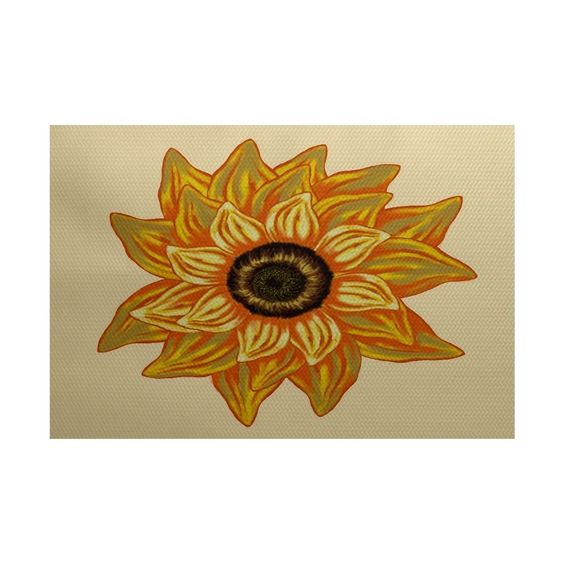 E by Design El Girasol Feliz Flower Print Rug