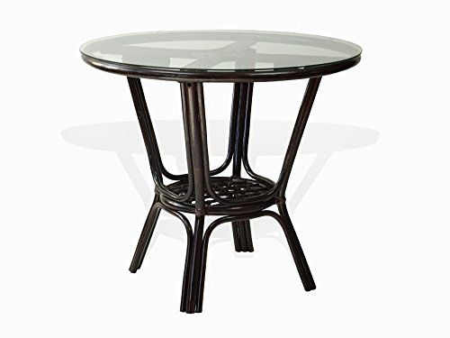 Pelangi Dining Natural Rattan Wicker Handmade Round Table Glass