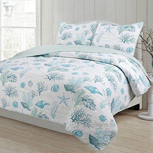 3 Piece Blue Beach Theme Full Queen Size Quilt Set Coast Https
