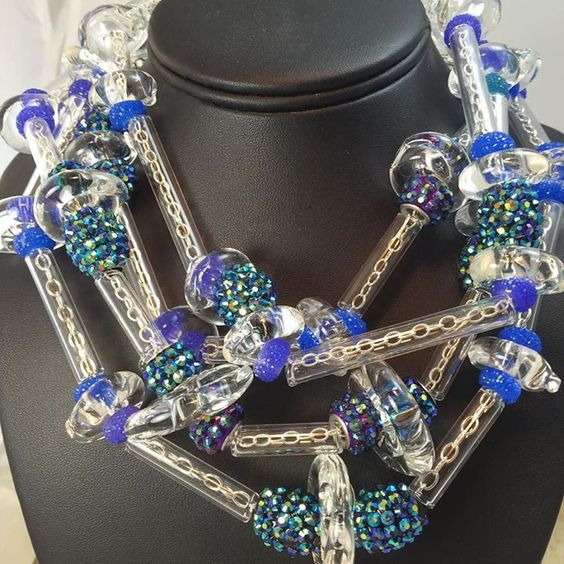 Him blown glass Sterling an exotic beads multistrand necklace one of a kind showing at the fountain blue hotel with the whitespace collection December 3 and fourth 10 AM to 7 PM #mostelfinejewelry #oneofakindjewelry #artbaselmiami #artbasil #whitespacecollection #elaynemordes http://ift.tt/1IAEPsu