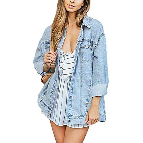 Cantonwalker Loose Womens Denim Jean Jacket,Oversize Vintage Denim Jacket,Long Sleeve Boyfriend Denim Jacket Coat